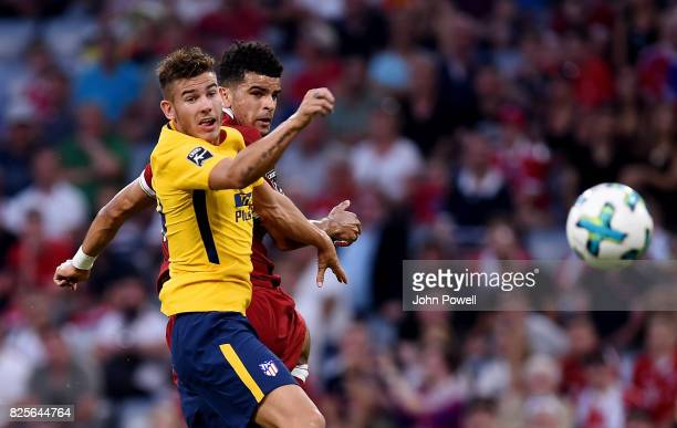 Dominic Solanke of Liveprool goes up with Jose Gimenez of Atletico Madrid during the Audi Cup 2017 match between Liverpool FC and Atletico Madrid at...