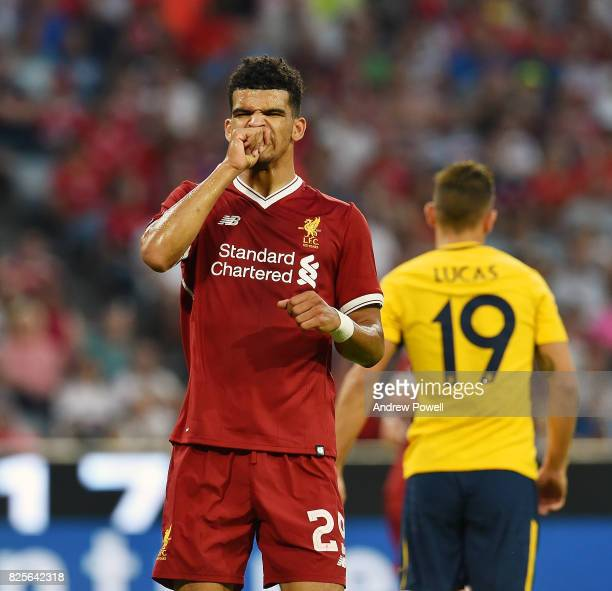 Dominic Solanke of Liveprool reacts after coming closeto scoring during the Audi Cup 2017 match between Liverpool FC and Atletico Madrid at Allianz...