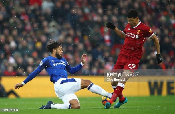 Dominic Solanke of Liverpool and Ashley Williams of Everton in action during the Premier League match between Liverpool and Everton at Anfield on...