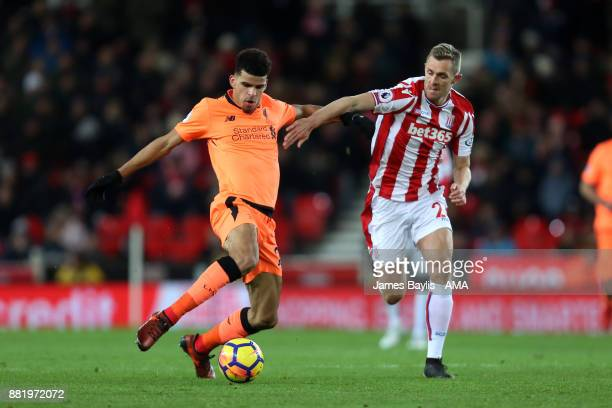 Dominic Solanke of Liverpool and Darren Fletcher of Stoke City during the Premier League match between Stoke City and Liverpool at Bet365 Stadium on...