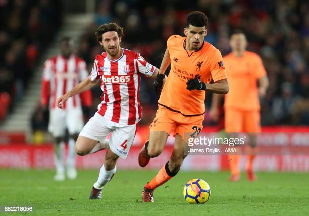 Dominic Solanke of Liverpool and Joe Allen of Stoke City during the Premier League match between Stoke City and Liverpool at Bet365 Stadium on...