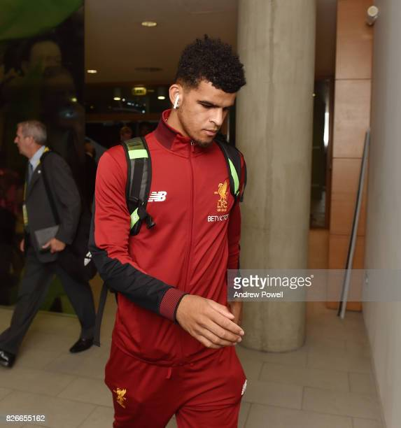 Dominic Solanke of Liverpool arrives before a pre season friendly match between Liverpool and Athletic Bilbao at Aviva Stadium on August 5 2017 in...