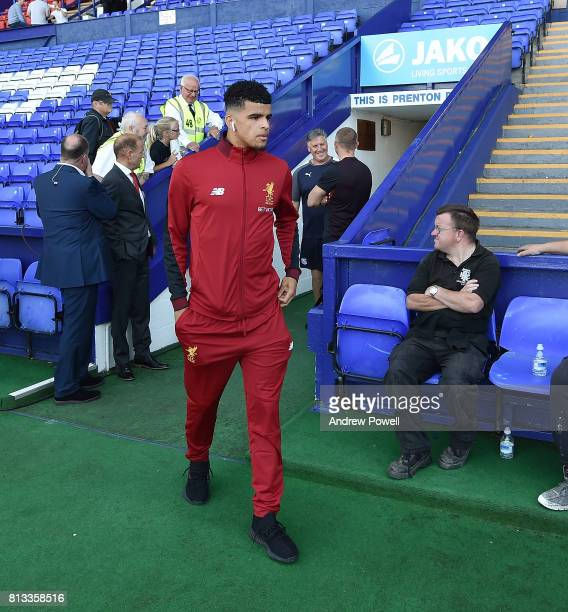Dominic Solanke of Liverpool before the pre season friendly between Tranmere Rovers and Liverpool at Prenton Park on July 12 2017 in Birkenhead...