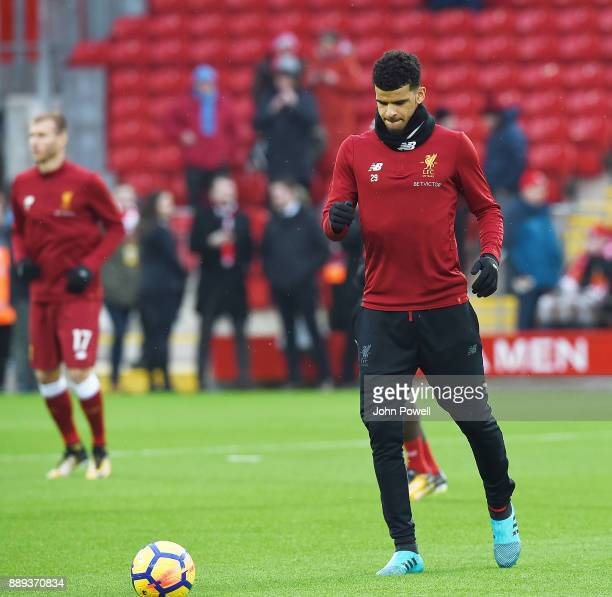 Dominic Solanke of Liverpool before the Premier League match between Liverpool and Everton at Anfield on December 10 2017 in Liverpool England