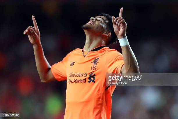 Dominic Solanke of Liverpool celebrates after scoring the first goal against Crystal Palace during the Premier League Asia Trophy match between...