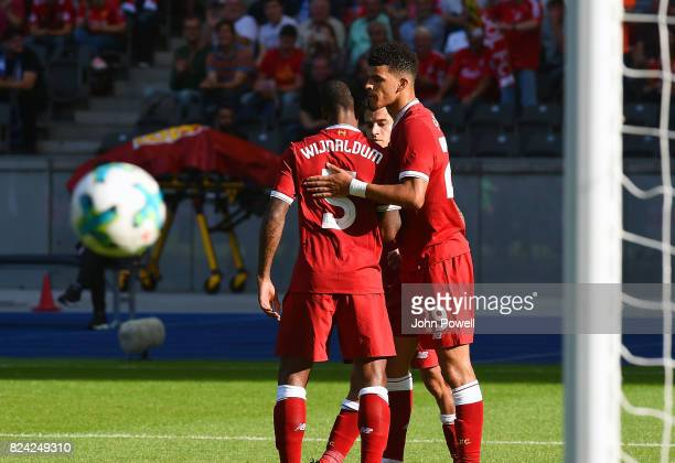 Dominic Solanke of Liverpool celebrates after scoring the opening goal during the preseason friendly match between Hertha BSC and FC Liverpool at...