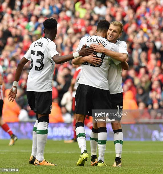 Dominic Solanke of Liverpool celebrates after scoring the thrid during a pre season friendly match between Liverpool and Athletic Bilbao at Aviva...