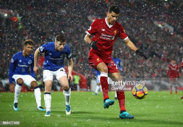 Dominic Solanke of Liverpool controls the ball during the Premier League match between Liverpool and Everton at Anfield on December 10 2017 in...