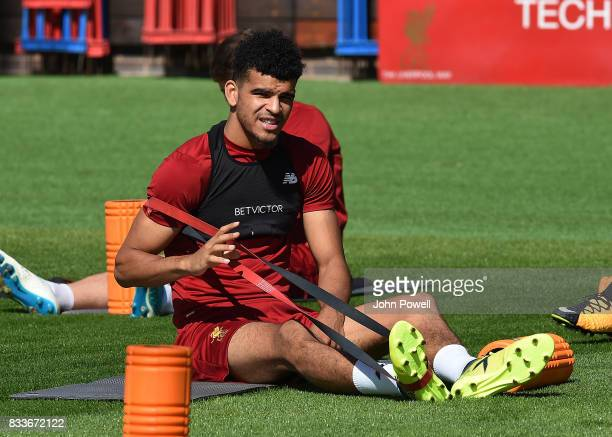Dominic Solanke of Liverpool during a training session at Melwood Training Ground on August 17 2017 in Liverpool England
