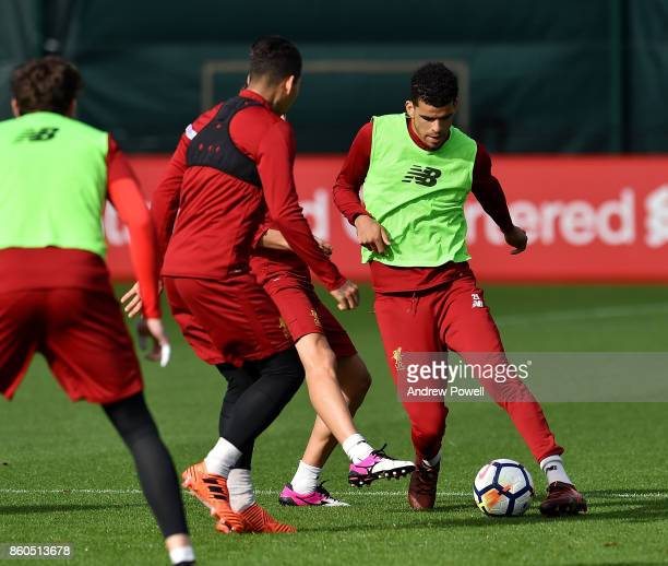 Dominic Solanke of Liverpool during a training session at Melwood Training Ground on October 12 2017 in Liverpool England