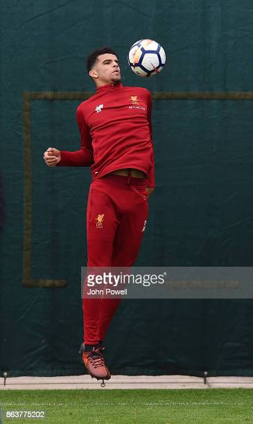 Dominic Solanke of Liverpool during a training session at Melwood Training Ground on October 20 2017 in Liverpool England
