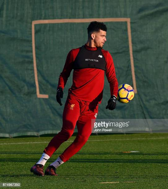 Dominic Solanke of Liverpool during a training session at Melwood Training Ground on November 16 2017 in Liverpool England