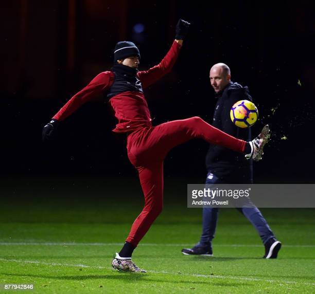 Dominic Solanke of Liverpool during a training session at Melwood Training Ground on November 23 2017 in Liverpool England