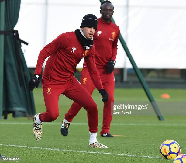 Dominic Solanke of Liverpool during a training session at Melwood Training Ground on December 8 2017 in Liverpool England