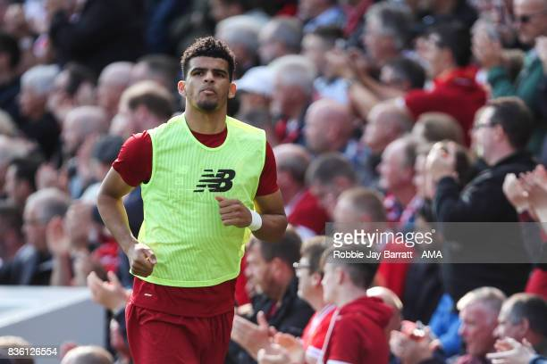 Dominic Solanke of Liverpool during the Premier League match between Liverpool and Crystal Palace at Anfield on August 19 2017 in Liverpool England