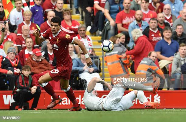 Dominic Solanke of Liverpool during the Premier League match between Liverpool and Manchester United at Anfield on October 14 2017 in Liverpool...