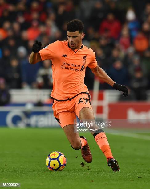 Dominic Solanke of Liverpool during the Premier League match between Stoke City and Liverpool at Bet365 Stadium on November 29 2017 in Stoke on Trent...