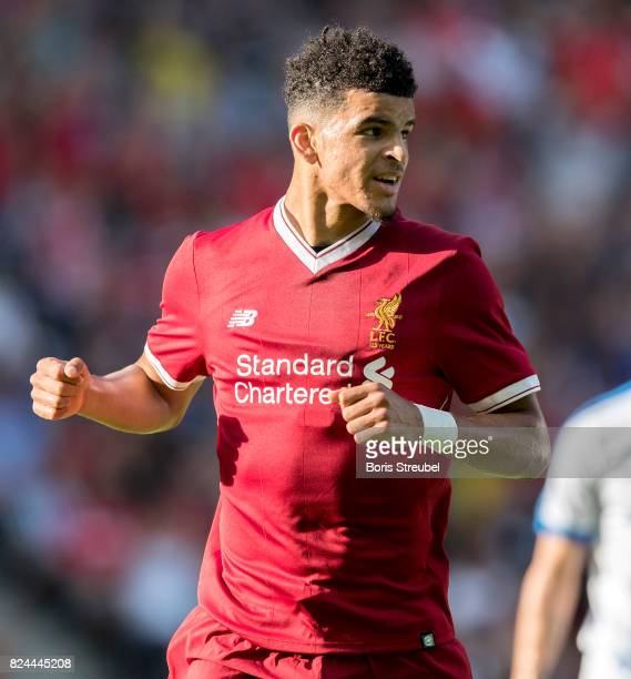 Dominic Solanke of Liverpool FC celebrates after scoring his team's first goal during the Preseason Friendly match between Hertha BSC and FC...