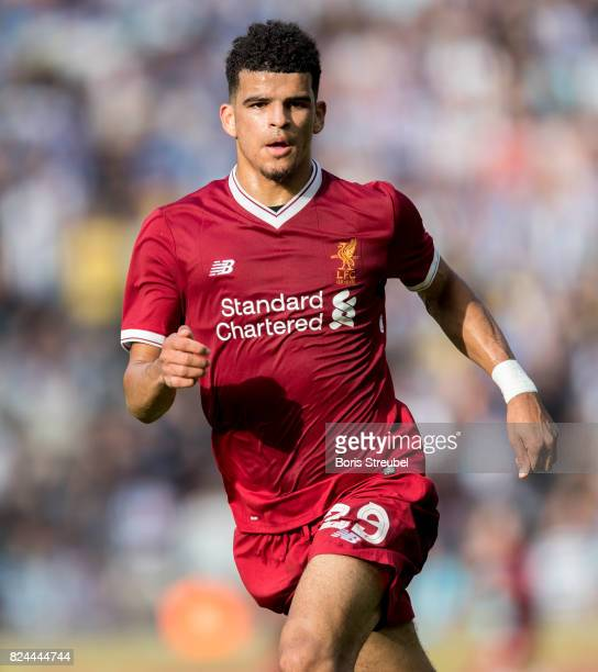 Dominic Solanke of Liverpool FC runs during the Preseason Friendly match between Hertha BSC and FC Liverpool at Olympiastadion on July 29 2017 in...