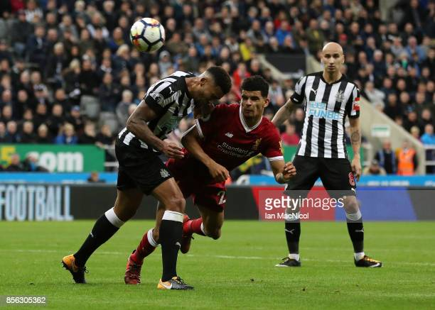 Dominic Solanke of Liverpool heads towards goal during the Premier League match between Newcastle United and Liverpool at St James Park on October 1...