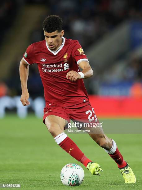 Dominic Solanke of Liverpool in action during the Carabao Cup Third Round match between Leicester City and Liverpool at The King Power Stadium on...