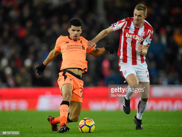 Dominic Solanke of Liverpool is challenged by Darren Fletcher of Stoke City during the Premier League match between Stoke City and Liverpool at...