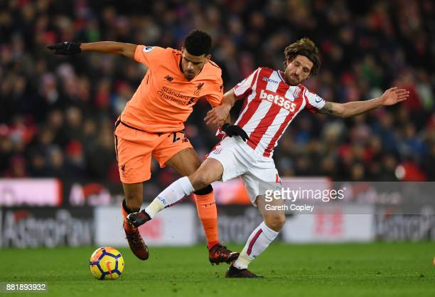 Dominic Solanke of Liverpool is challenged by Joe Allen of Stoke City during the Premier League match between Stoke City and Liverpool at Bet365...
