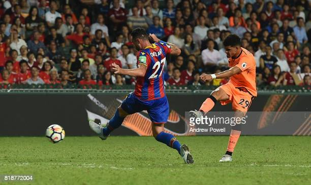 Dominic Solanke of Liverpool scores the opening goal during the Premier League Asia Trophy match between Liverpool FC and Crystal Palace on July 19...