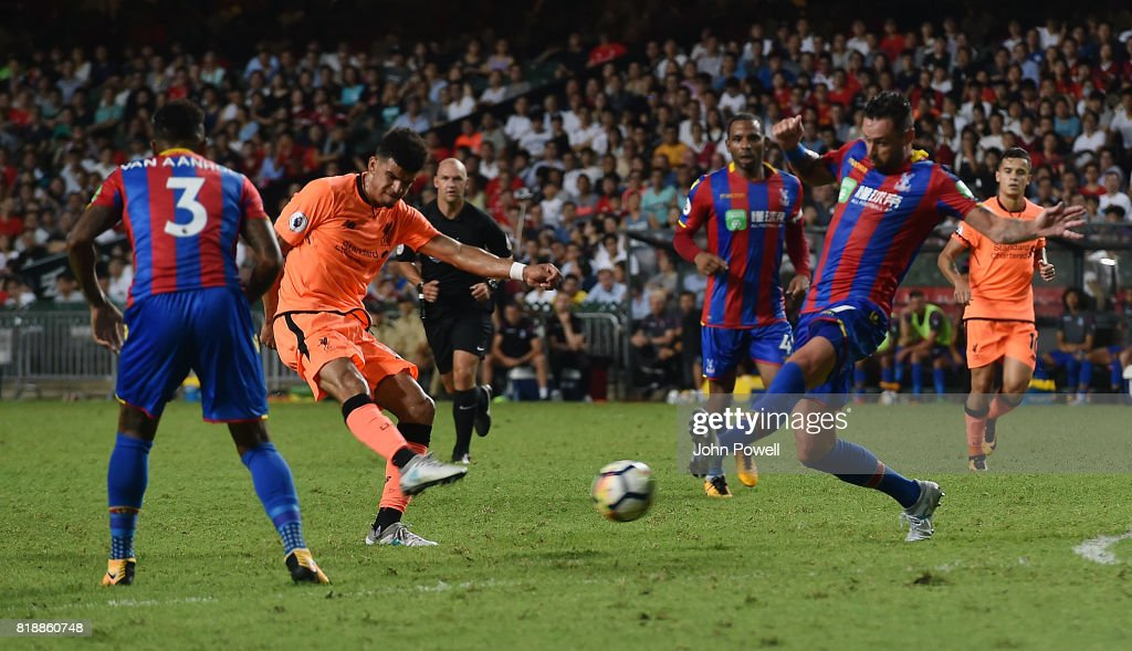 Dominic Solanke of Liverpool scores the opening goal during the Premier League Asia Trophy match between Liverpool FC and Crystal Palace on July 19, 2017 in Hong Kong Stadium, Hong Kong.