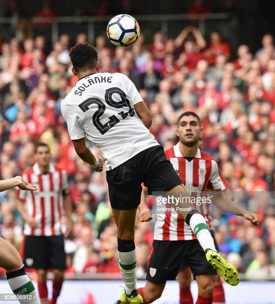Dominic Solanke of Liverpool scores the thrid during a pre season friendly match between Liverpool and Athletic Bilbao at Aviva Stadium on August 5...