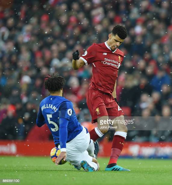 Dominic Solanke of Liverpool with AShley Williams of Everton during the Premier League match between Liverpool and Everton at Anfield on December 10...