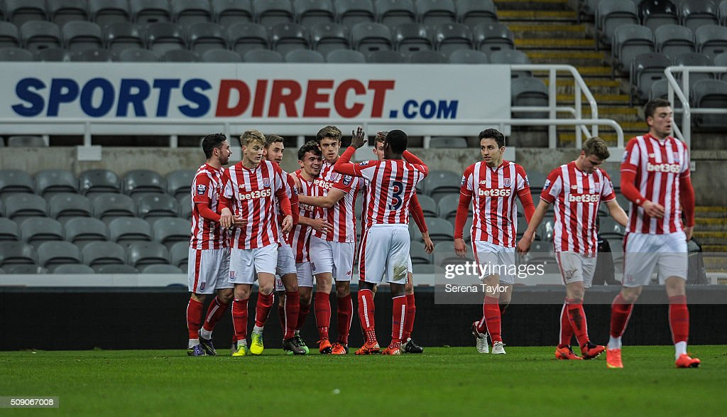 Dominic Telford of Stoke City (4th from left) celebrates with teammates after scoring the opening penalty during the Barclays Premier League U21 match between Newcastle United and Stoke City at St.James' Park on February 8, 2016, in Newcastle upon Tyne, England.