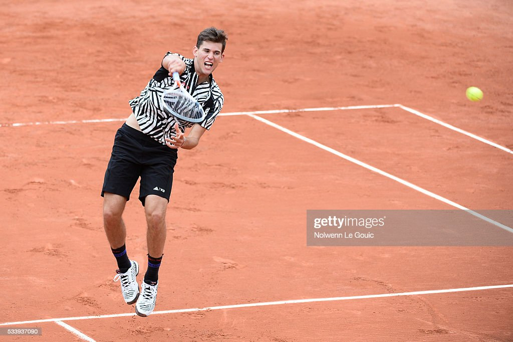 Dominic Thiem during the Men's Singles first round on day three of the French Open 2016 at Roland Garros on May 24, 2016 in Paris, France.