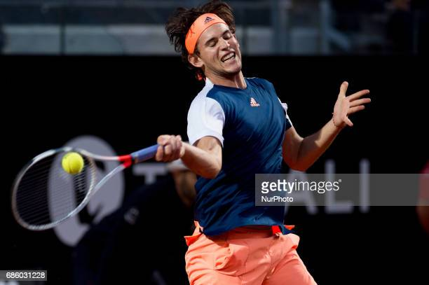 Dominic Thiem in action against Novak Djokovic during the ATP World Tour Masters 1000 Internazionali BNL D'Italia at the Foro Italico Rome Italy on...