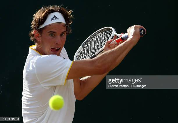 Dominic Thiem in action against Tomas Berdych on day seven of the Wimbledon Championships at The All England Lawn Tennis and Croquet Club Wimbledon