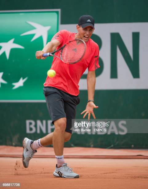 Dominic Thiem in action during his 1st round men's singles match against Aljaz Bedene on day two of the French Open at Roland Garros on May 25 2015...