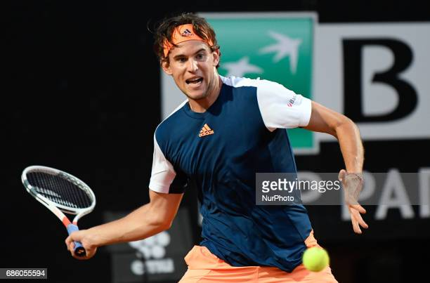 Dominic Thiem in action during his match against Novak Djokovic Internazionali BNL d'Italia 2017 on May 20 2017 in Rome Italy
