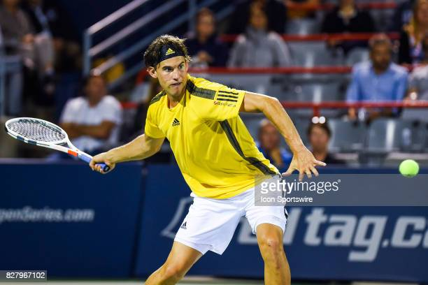 Dominic Thiem makes eye contact with the ball before returning it during his first round match at ATP Coupe Rogers on August 8 at Uniprix Stadium in...