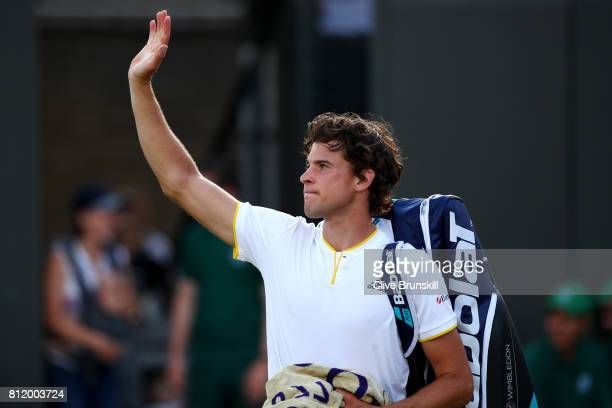 Dominic Thiem of Austria acknowledges the crowd after the Gentlemen's Singles fourth round match against Tomas Berdych of The Czech Republic on day...
