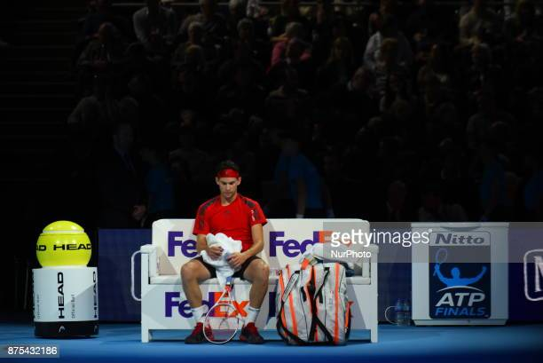 Dominic Thiem of Austria against David Goffin of Belgium during Day six of the Nitto ATP World Tour Finals played at The O2 Arena London on November...