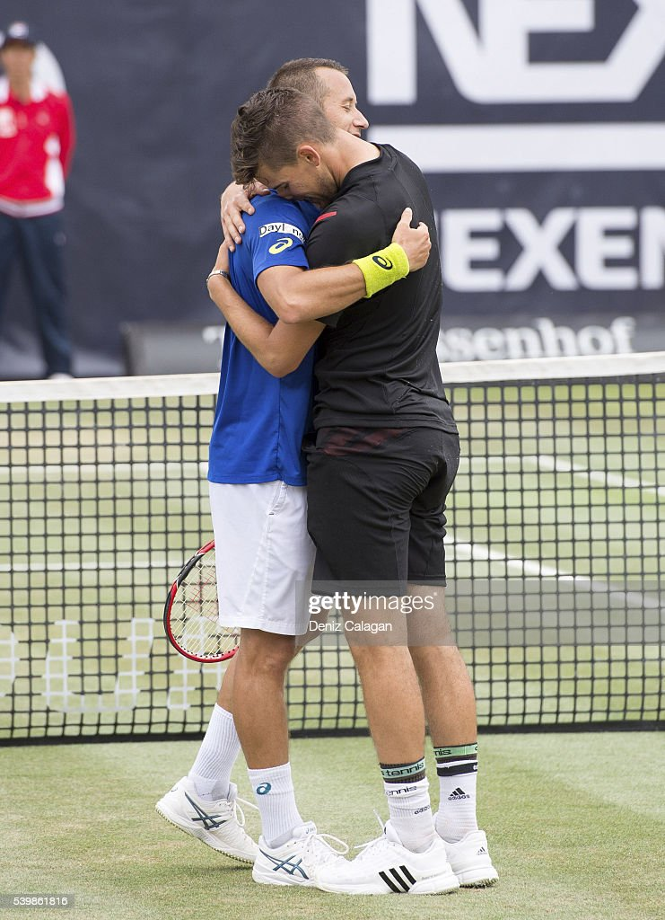 Dominic Thiem of Austria and Philipp Kohlschreiber of Germany seen after the final match on day 10 of Mercedes Cup 2016 on June 13, 2016 in Stuttgart, Germany.