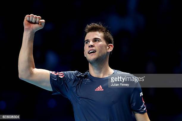 Dominic Thiem of Austria celebrates a point during his men's singles match against Novak Djokovic of Serbia on day one of the ATP World Tour Finals...