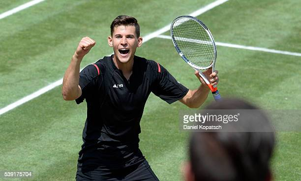 Dominic Thiem of Austria celebrates after the quarterfinals on day 7 of Mercedes Cup 2016 on June 10 2016 in Stuttgart Germany