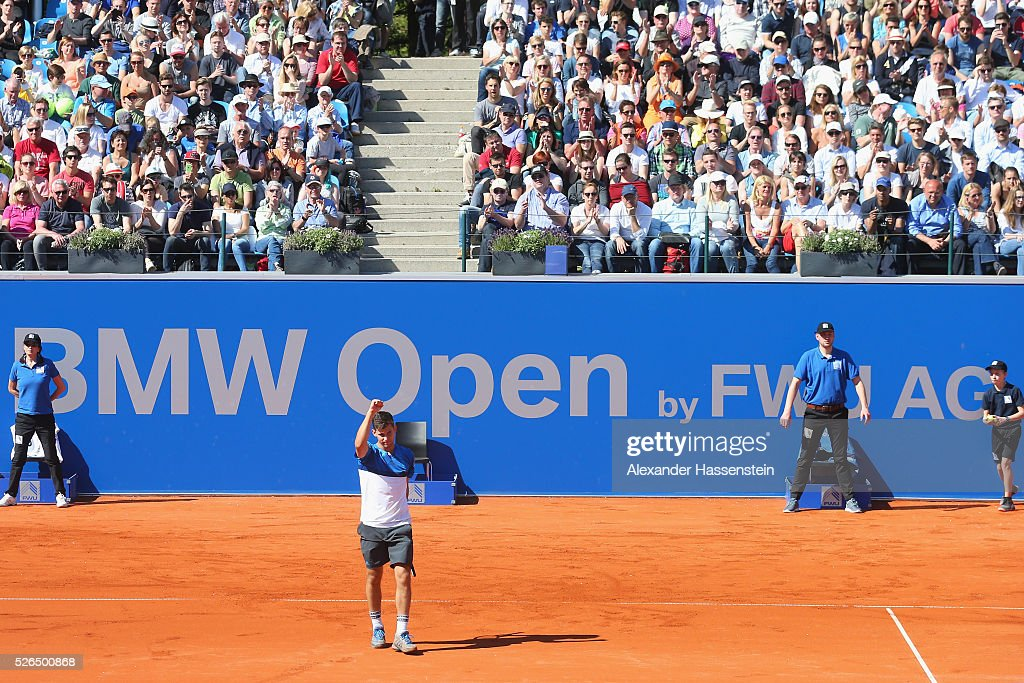 Dominic Thiem of Austria celebartes after winning his semi finale match against Alexander Zverev of Germany of the BMW Open at Iphitos tennis club on April 30, 2016 in Munich, Germany.