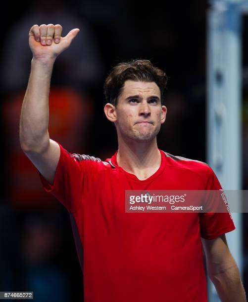 Dominic Thiem of Austria celebrates his victory over Pablo Carreno Busta of Spain in their Group Pete Sampras match today Thiem def Busta 63 36 64 at...