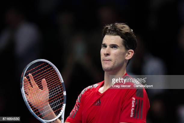 Dominic Thiem of Austria celebrates victory against Pablo Carreno Busta of Spain in their Peter Sampras group match today Thiem def Carreno Busta 63...