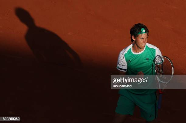 Dominic Thiem of Austria celebrates victory during his match with Horacio Zeballos of Argentina on Day Eight at Roland Garros on June 4 2017 in Paris...