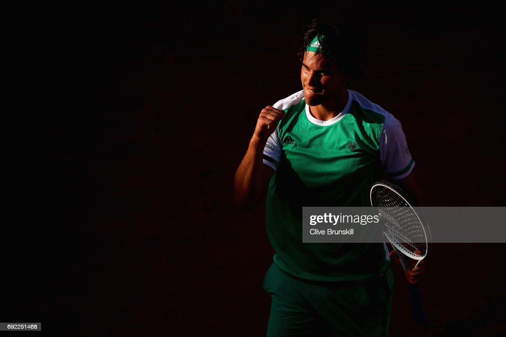 Dominic Thiem of Austria celebrates victory during the mens singles fourth round match against Horacio Zeballos of Argentina on day eight of the 2017 French Open at Roland Garros on June 4, 2017 in Paris, France.