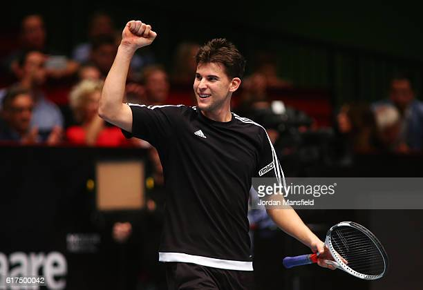 Dominic Thiem of Austria celebrates victory in his match against Andy Murray of Great Britain during Tie Break Tens at Wiener Stadthalle on October...