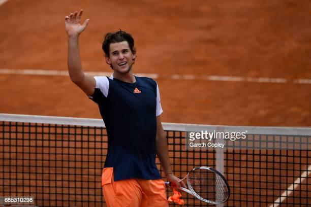 Dominic Thiem of Austria celebrates winning his quarter final match against Rafael Nadal of Spain in The Internazionali BNL d'Italia 2017 at Foro...